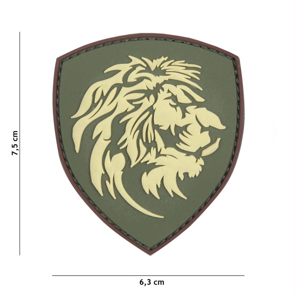 Gumová nášivka 101 Inc znak Dutch Lion - olivová