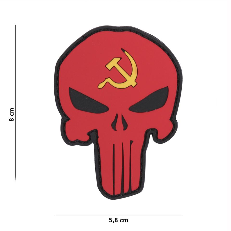 Gumová nášivka 101 Inc vlajka Punisher Head SSSR
