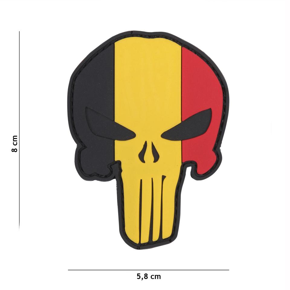 Gumová nášivka 101 Inc vlajka Punisher Head Belgie