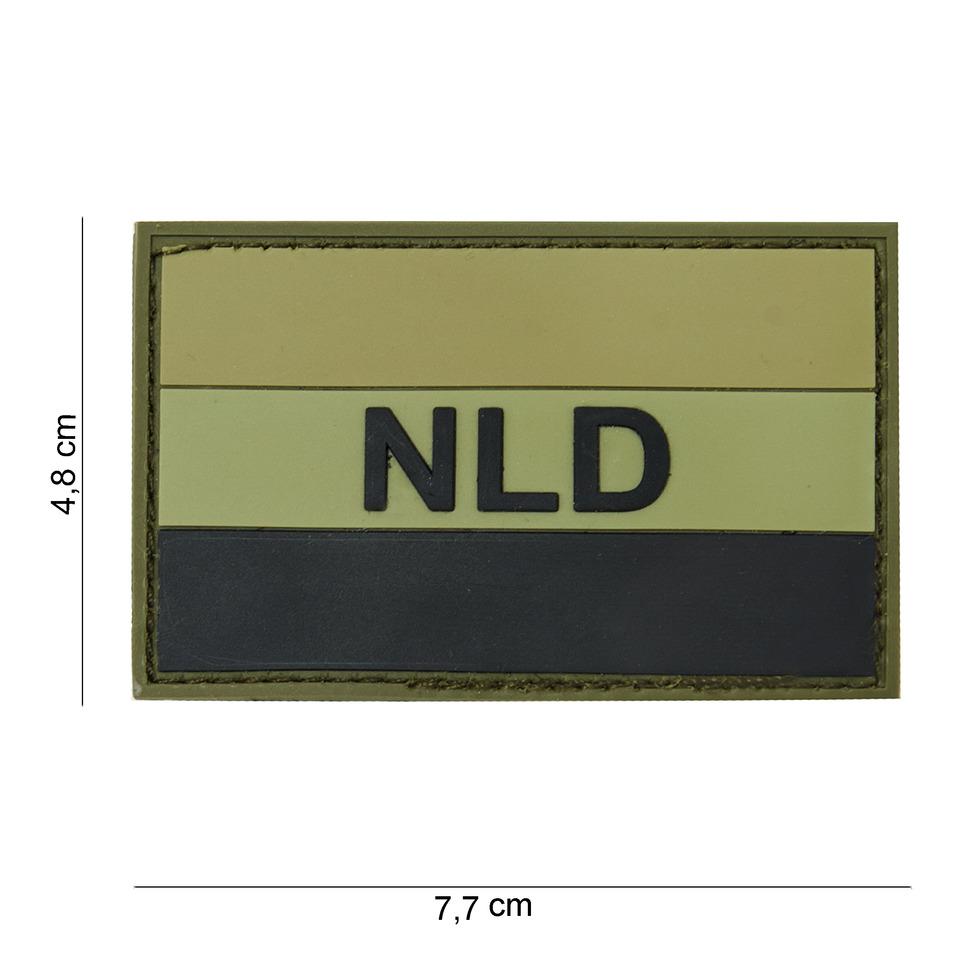 Gumová nášivka 101 Inc vlajka Nizozemsko s nápisem - olivová