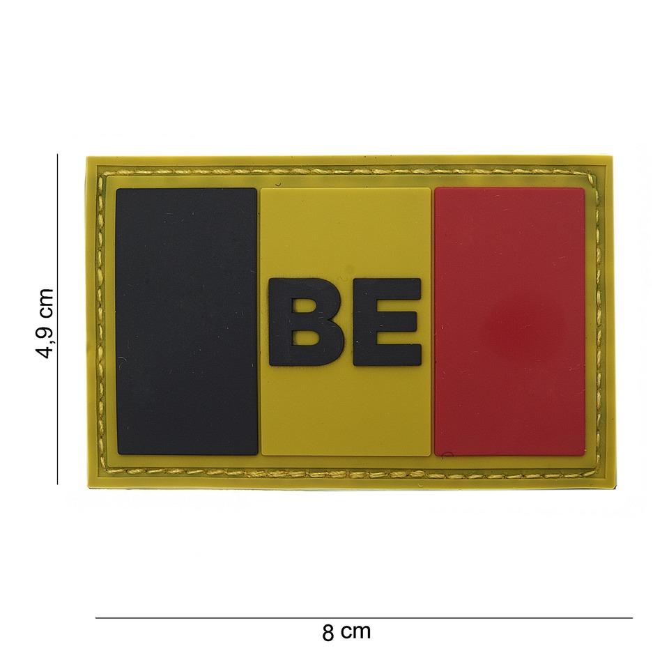 Gumová nášivka 101 Inc vlajka Belgie s nápisem