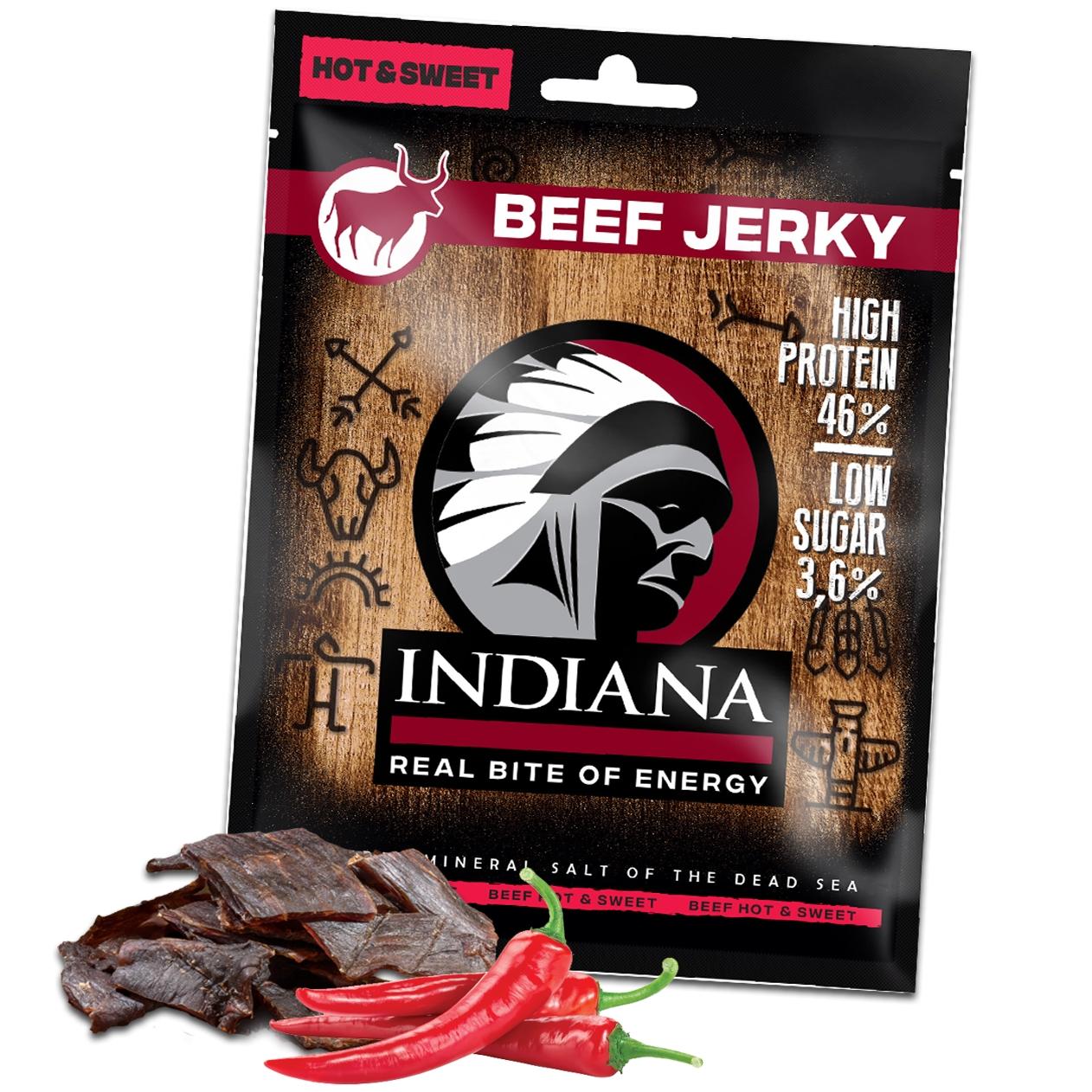 Sušené maso Indiana Jerky hovězí Hot & Sweet 25g