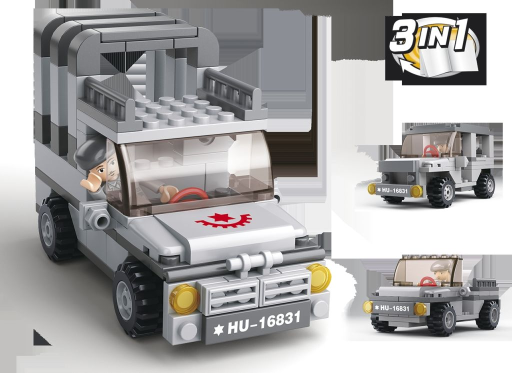 Stavebnice Sluban Army Jeep 3v1 M38-B0537A