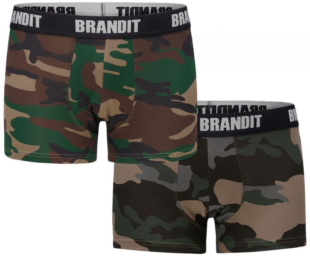 Boxerky Brandit Boxer 2 ks (woodland + darkcamo)