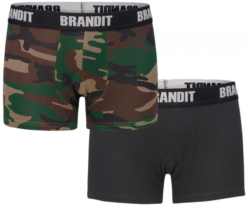Boxerky Brandit Boxer 2 ks (černé + woodland)