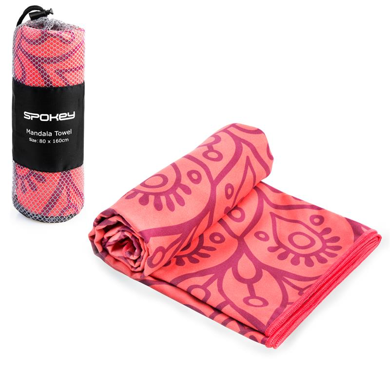 Rychleschnoucí plážový ručník Spokey Mandala 80x160 - růžový