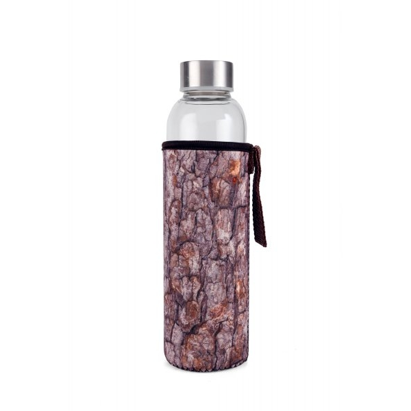 Láhev skleněná Glasee 0,6 l Dřevo - hnědá