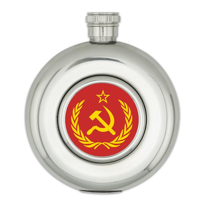 Kulatá placatka 150 ml SSSR (CCCP) - stříbrná