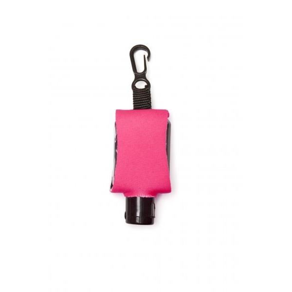 Příruční dezinfekční gel s karabinkou 15 ml - růžový