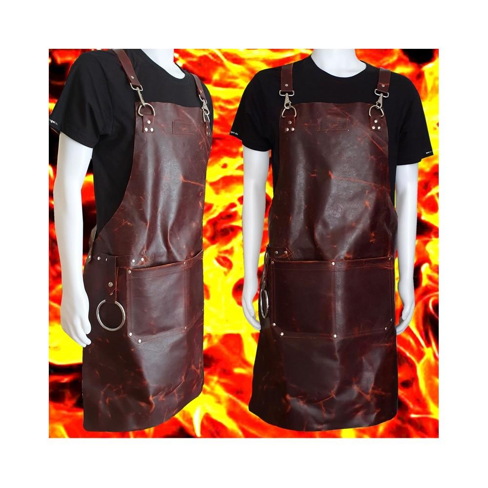 Kožená zástěra Dellinger Leather BBQ Vintage Fire Look - hnědá