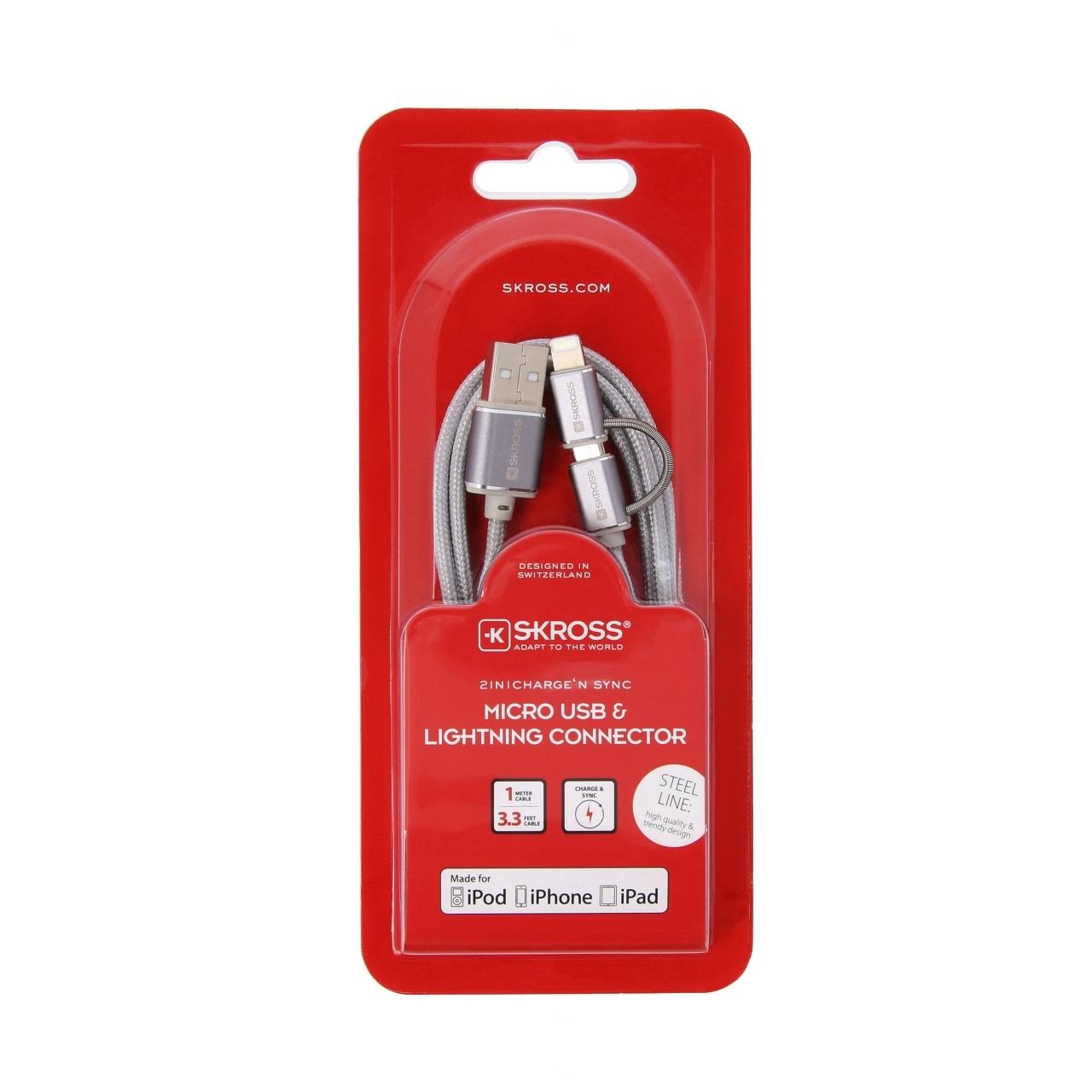 Kabel Skross Chargen Sync USB/Micro USB na Lightning