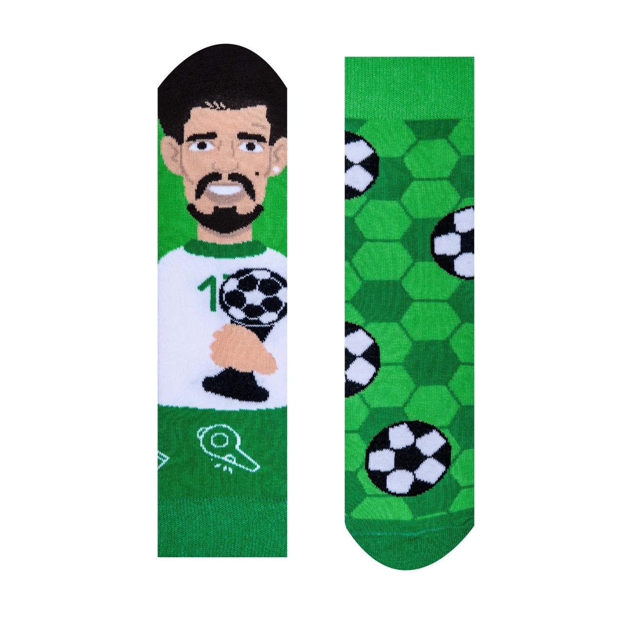 Ponožky dětské Hesty Fotbalista - zelené-bílé