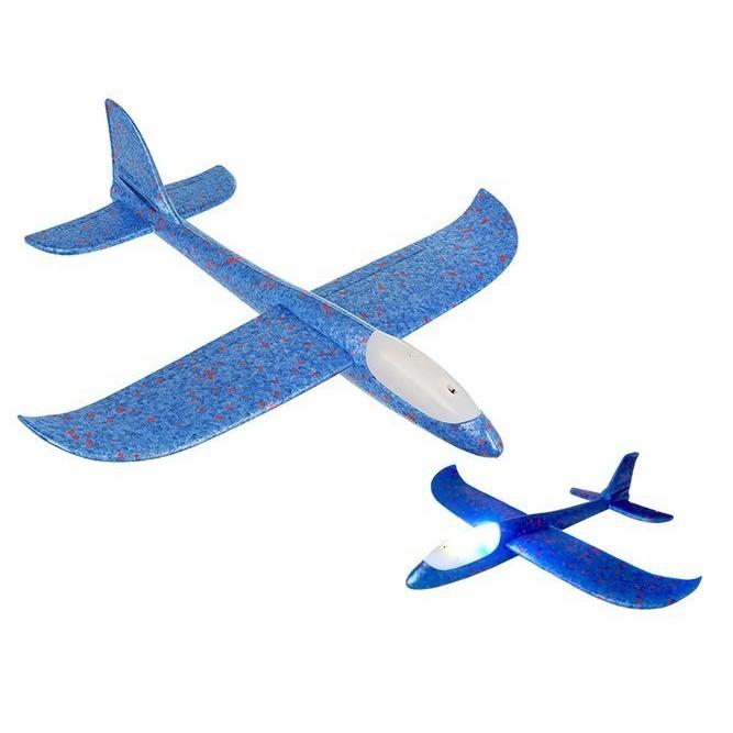 Polystyrenové letadlo Blue Glider LED - modré