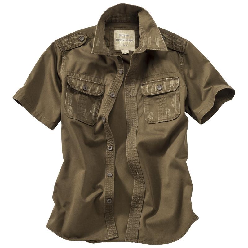Košile Raw Vintage krátký rukáv - hnědá