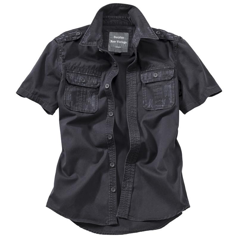 Košile Raw Vintage krátký rukáv - černá
