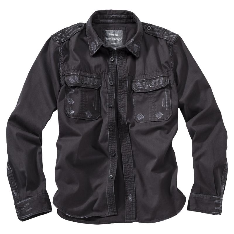 Košile Raw Vintage dlouhý rukáv - černá
