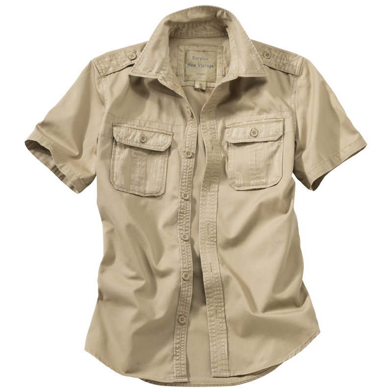 Košile Raw Vintage krátký rukáv - béžová