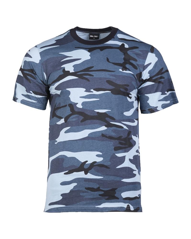 Maskáčové tričko s krátkým rukávem - skyblue