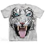 Tričko unisex The Mountain Big Face Tribal White Tiger - šedé