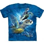 Tričko unisex The Mountain Find 9 Sea Turtles - modré