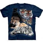 Tričko unisex The Mountain Big Cat Collage - modré