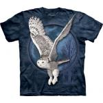 Tričko unisex The Mountain Snow Owl Moon - modré