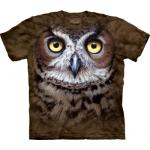 Tričko unisex The Mountain Great Horned Owl Head - hnedé