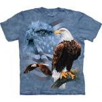 Tričko unisex The Mountain Faded Flag & Eagles - modré