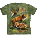 Tričko unisex The Mountain Red Fox Collage - zelené