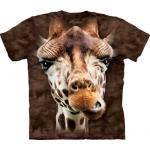 Tričko unisex The Mountain Giraffe Face - hnedé