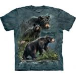 Tričko unisex The Mountain Three Black Bears - šedé