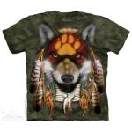 Tričko unisex The Mountain Native Wolf Spirit - zelené