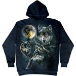 Mikina The Mountain Hoodie Moon Wolves - modrá