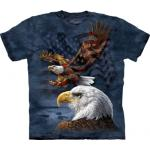 Tričko unisex The Mountain Eagle Flag Collage Patriotic - modré