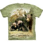 Tričko unisex The Mountain Black Bear Family - zelené
