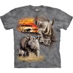 Tričko unisex The Mountain Rhinos Animal - šedé