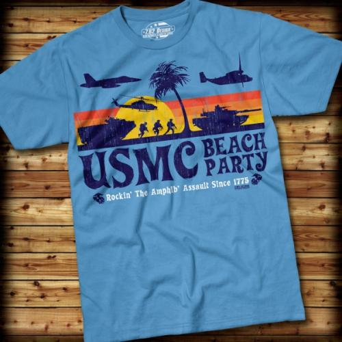 Triko 7.62 Design USMC Beach Party - modré