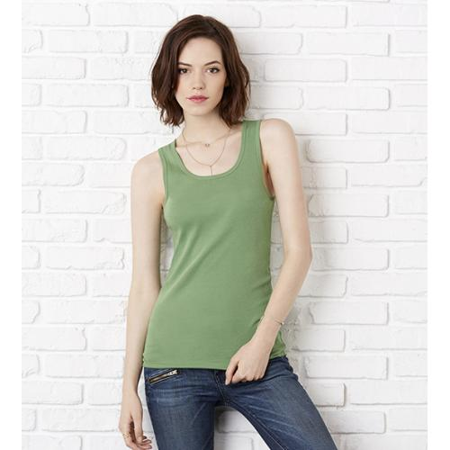 Top Bella Stretch Rib Tank - zelený