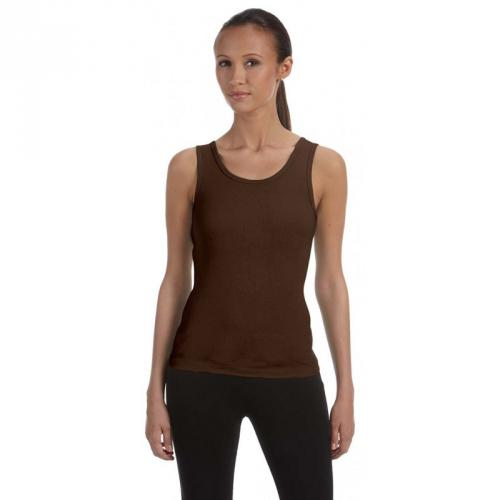 Top Bella Stretch Rib Tank - hnědý