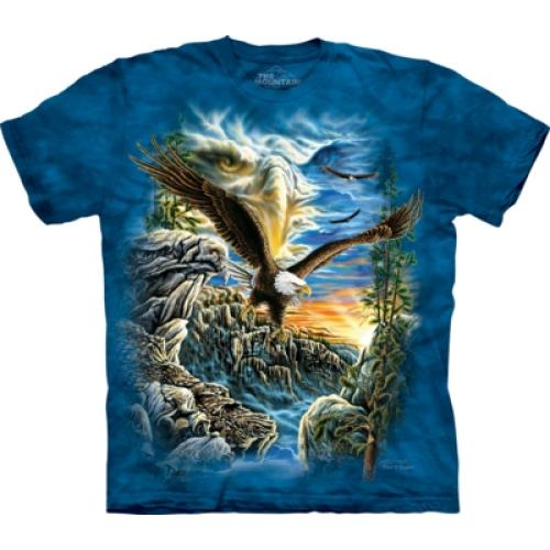 Tričko unisex The Mountain Find 11 Eagles - modré
