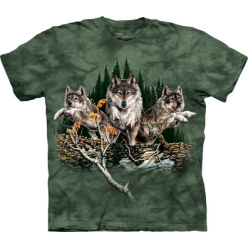 Tričko unisex The Mountain Find 12 Wolves - zelené