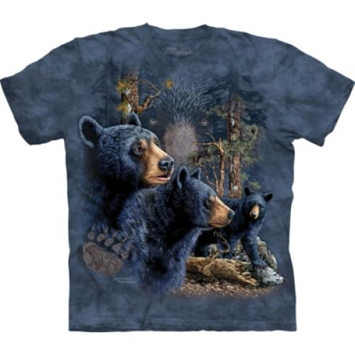 Tričko unisex The Mountain Find 13 Black Bears - modré