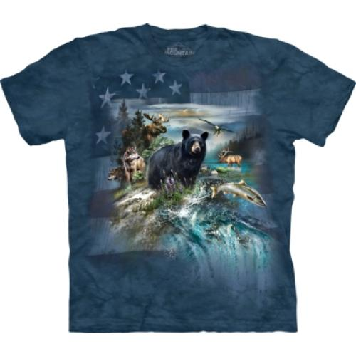 Tričko unisex The Mountain Patriotic North American Collage - modré