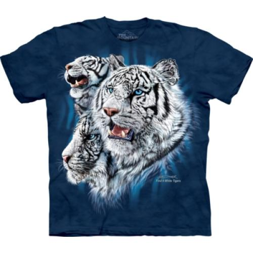 Tričko unisex The Mountain Find 9 White Tigers - modré