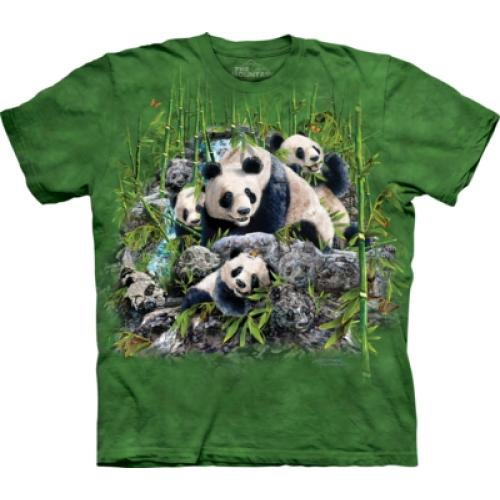 Tričko unisex The Mountain Find 13 Pandas - zelené