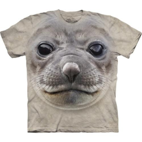Tričko unisex The Mountain Big Face Seal - šedé