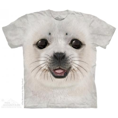 Tričko unisex The Mountain Big Face Baby Seal - šedé