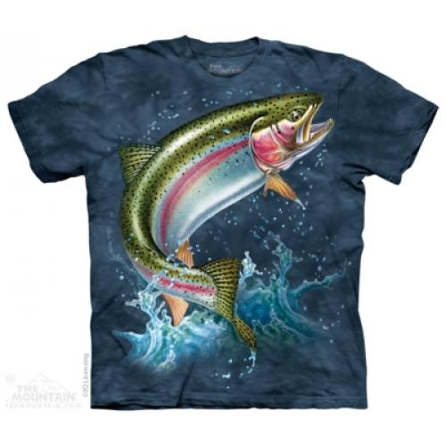 Tričko unisex The Mountain Rainbow Trout - modré