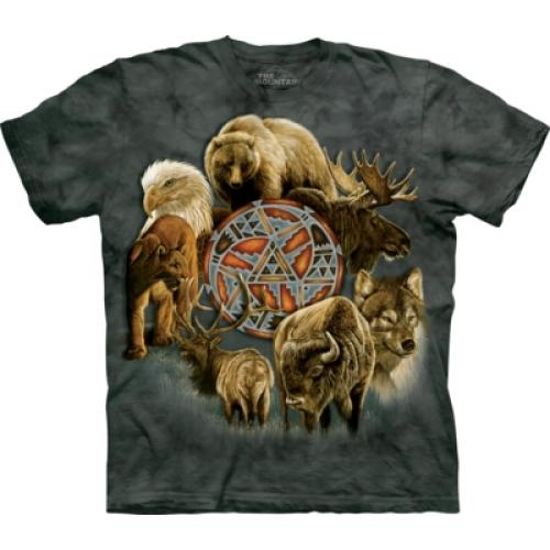 Tričko unisex The Mountain Animal Spirit Circle - šedé