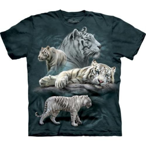 Tričko unisex The Mountain White Tiger Collage - modré